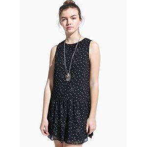MNG Star Print Tunic Dress Navy Silver Size 4